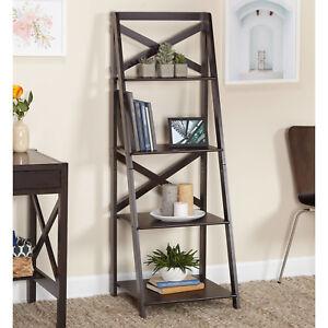 pretty nice 9acb3 bf3ee Details about Ladder Bookcase Ladder Shelf 4 Tier X-Back Storage Espresso  Brown Home Storage