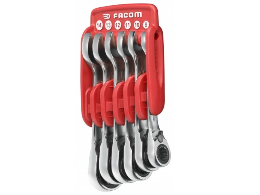 Wrench 8mm 14mm 467S.JP6PB Facom Set of 6 Short Ratchet Combination Spanners