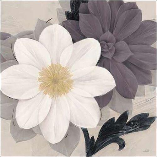 Ivo Blossom and Succulent White Keilrahmen-Bild Leinwand Blumen grau modern