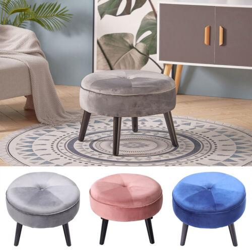 Round Velvet Ottoman Stool Pouffee Bedroom Footstool Kids Chair Padded Seat