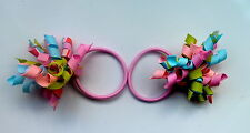 Gymboree Girls Hair Bobble/Hair Tie x 2 - Blue, Green and Pink, New (Ref G5)
