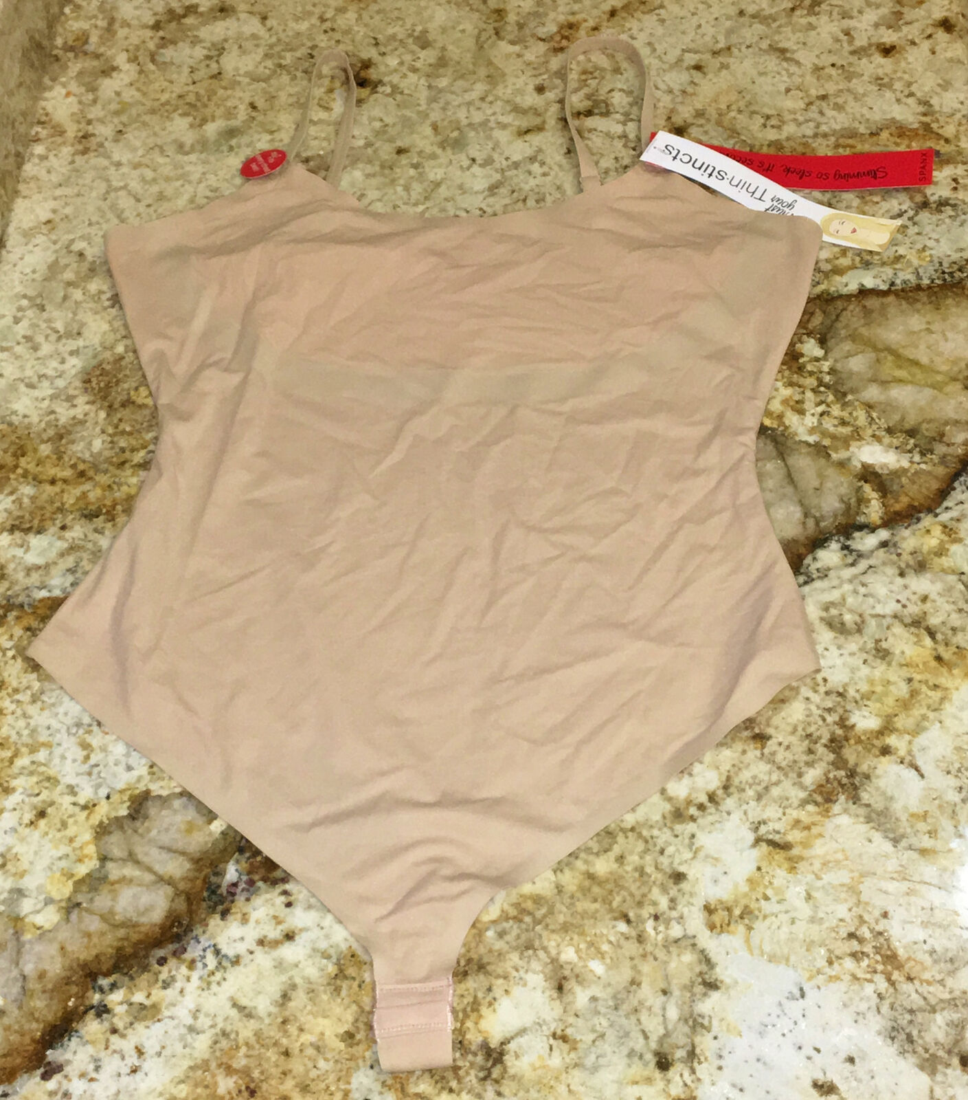 SPANX ThinStincts Cami Thong Bodysuit Firm Control NUDE NEW Womens Sz XL