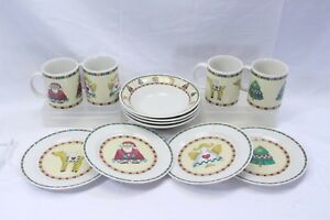 Retroneu-Country-Xmas-Salad-Plates-Soup-Bowls-Mugs-Lot-of-12
