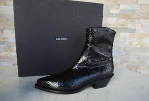 Dolce Gabbana Snake Ehemuvp Bottines Bottes Noir Python 38 New rrwHvfx