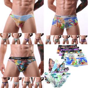 Fashion-Men-039-s-Printed-Underwear-Boxer-Briefs-Shorts-Bulge-Pouch-Soft-Underpants