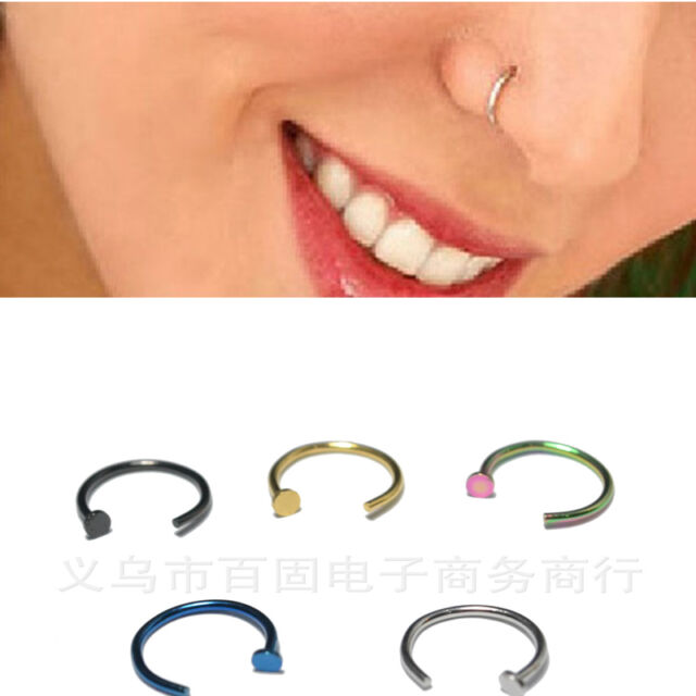 2pcs Nose Ring Earrings Double Use Not Allergy Titanium Steel Body Jewelry