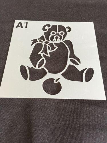 Set x 4 Childrens Mylar Teddy Bear Stencils Nursery Room Art Craft Toy Uk Seller