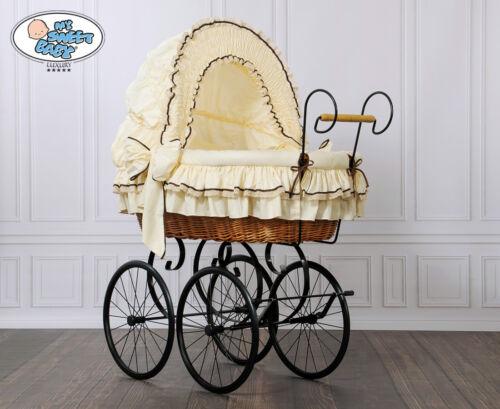 My Sweet Baby Retro Luxus Stubenwagen Nostalgiestubenwagen Weide XXXL Beige TÜV