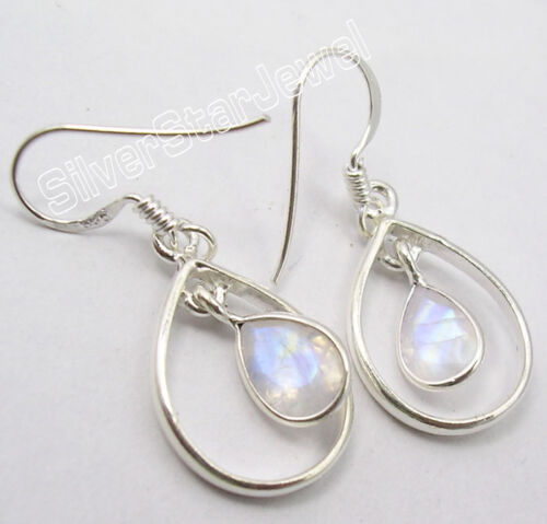 "925 Pure Silver LATEST STYLE Jewelry RAINBOW MOONSTONE Dangle Earrings 1.4/"""
