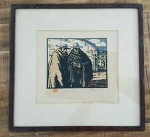 T-F-Simon-Signed-Framed-Colored-Woodcut-034-Andalusians-in-Ronda-034