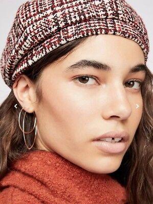 NEW Free People Eloise Tweed Plaid Beret Hat Cap