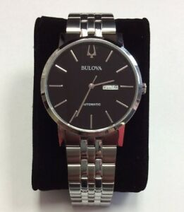 32503cc6dbf Image is loading BULOVA-Mens-Classic-Collection-Stainless-Steel-Black-Dial-