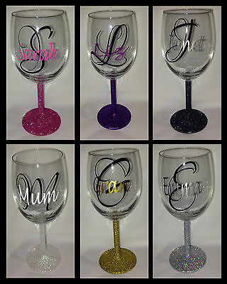 Personalised Glitter Wine Glass - Birthday Present, Mother's day, Christmas Gift