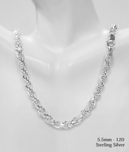 Sterling Silver Diamond Cut Rope Chain Necklace 925 Italy All Widths and Length