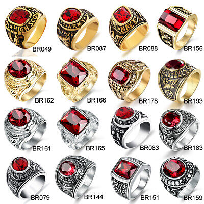 Retro Mens Silver Stainless Steel Round Red Garnet Gemstone US Army Biker Rings
