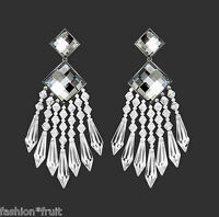 Balmain H&m Sparkly Clip Chandelier Earrings Crystal Clear Silver Gift Box