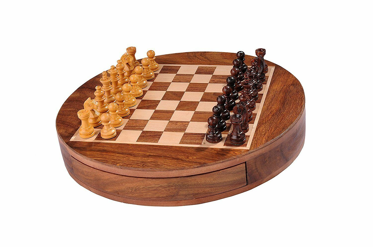 Round Wooden Magnetic Travel Chess Set with Drawers and staunon Pieces.