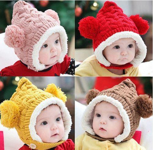 Los niños gorro boina gorro con pelaje de punto ha cálida gorra kidshat invierno gorro