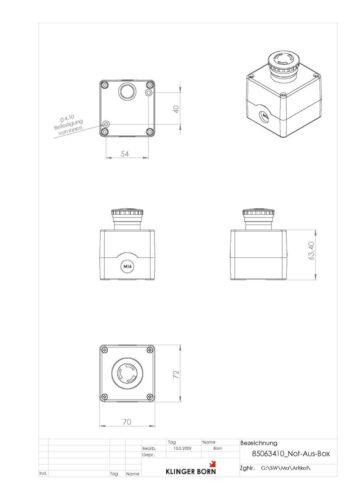 Not-Aus Taster in Gehäuse mit 2 Öffner-Elementen 8506.3413 Nr