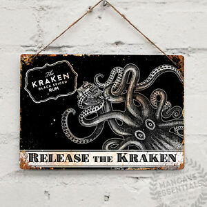 RELEASE-THE-KRAKEN-RUM-Landscape-Metal-Wall-sign-Retro-Pub-Bar-Mancave-Tattoo