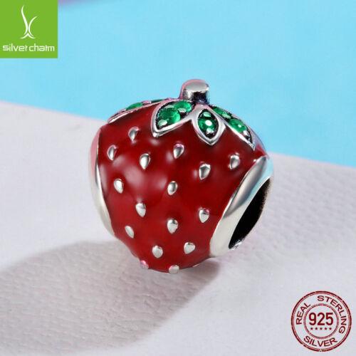 Authentic Sterling 925 Sweet strawberry Rouge//Vert Zircone Cubique Charme Beads Fit Printemps Nouveau