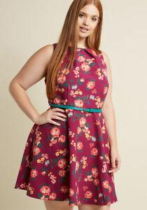Fervor-ModCloth-Lucky-baya-de-color-rosa-ajustado-y-acampanado-Vestido-Estampado-Floral-Talla-2X-2XL