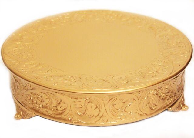 Grand Wedding Matte Gold Round Cake Stand Plateau 14 Inch
