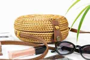 Handwoven Round Rattan Bag | Woven Crossbody, Messenger, Purse | US Seller!