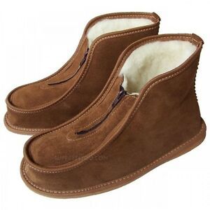 Men Women Leather Slippers Shoes Zip Boots Sheep Wool ...