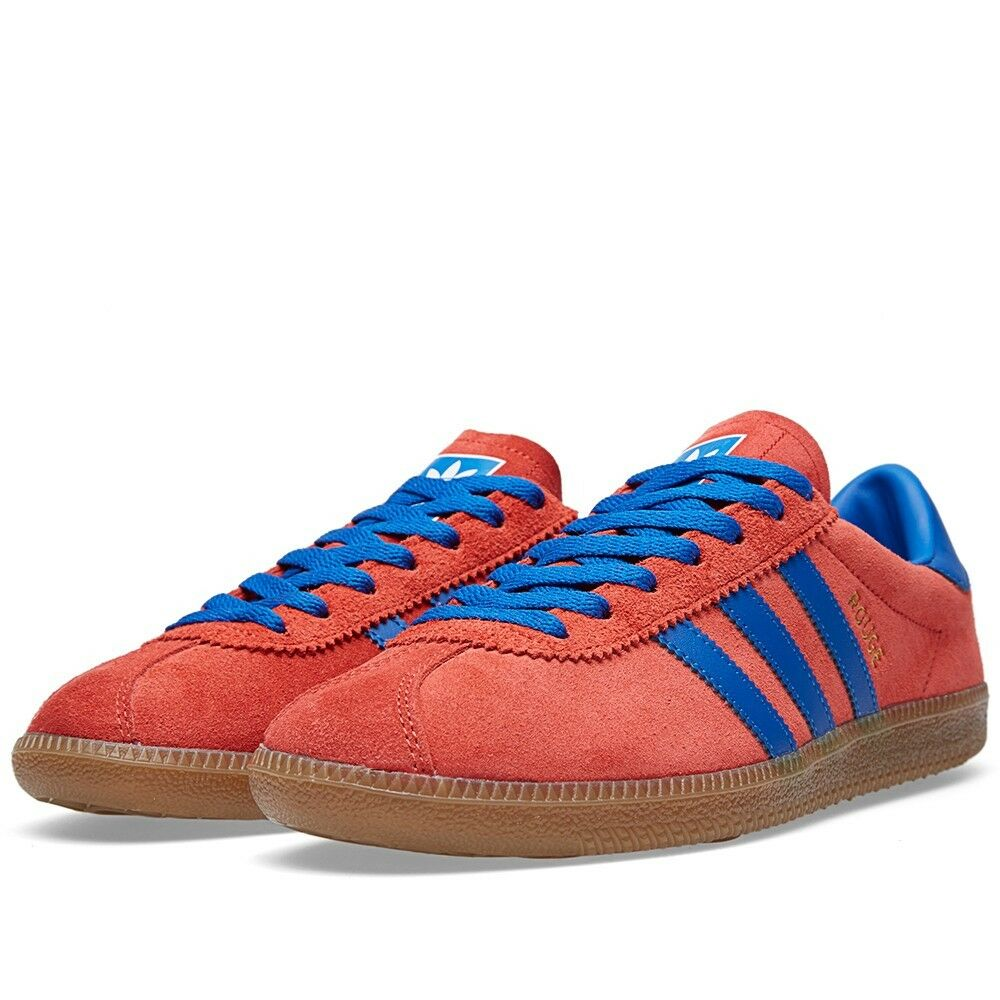 online store eaecf b9c69 chic Adidas Originals ROUGE OG RED SUEDE  BLUE LEATHER TRIM TRAINERS BNIB  Deadstock