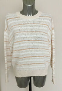 M-amp-S-Collection-Size-M-Size-12-14-Cream-Striped-Long-Sleeve-Jumper-RRP-35