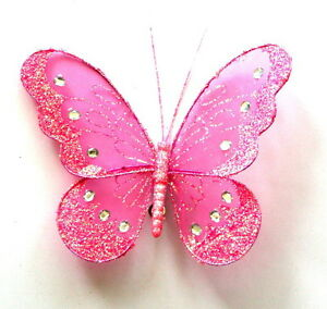 12 x High quality clip on jewelled and glittered decorative butterflies free P/&P