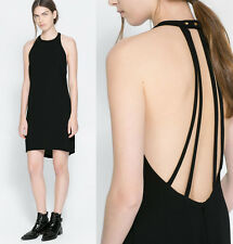 ZARA Black Backless Dress With Straps Casual Formal size Large