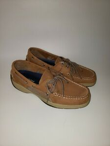 Details about Sperry Mens Top Sider Intrepid Brown Tan Leather Boat Shoes