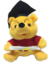 """Winnie the Pooh Graduate with Cap Diploma Plush 12"""" Tall Yellow Red Glasses"""