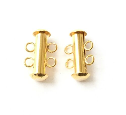 2-Strand Clasp Spring Slide Lock Gold Plated Jewelry Supplies