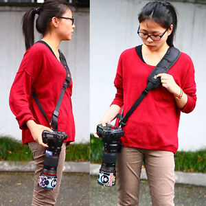 anti-scivolo-RAPIDO-FIONDA-fotocamera-cinghia-tracolla-DLSR-Canon-Nikon-Pentax
