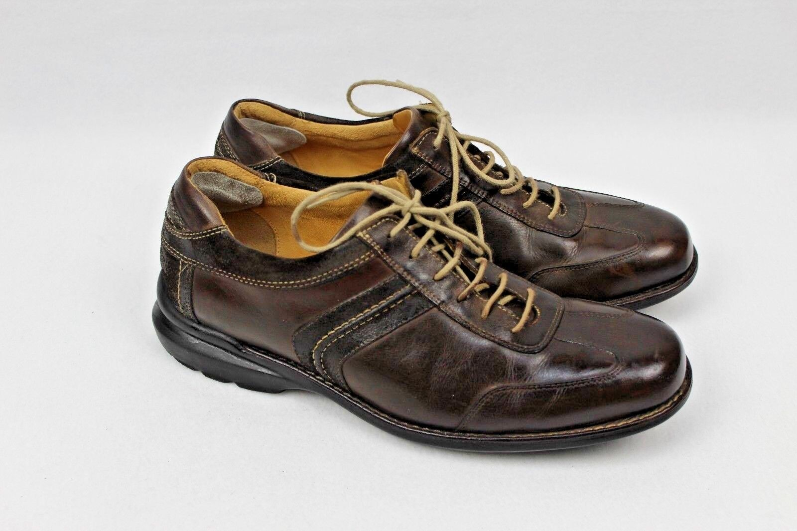 Johnston Murphy Men's Leather Lace Up Shoes Style 20-7472 Suede Trim Size 11 M