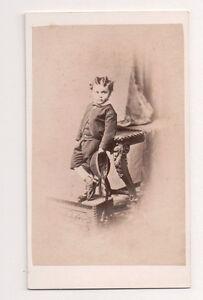 Vintage-CDV-Unknown-Young-Boy-Suit-amp-Hat-Dark-039-s-Studio-Sydenham-England