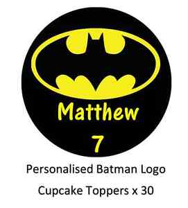 7b3b34030353 Image is loading Batman-Logo -Personalised-Cupcake-Toppers-Edible-Wafer-Paper-