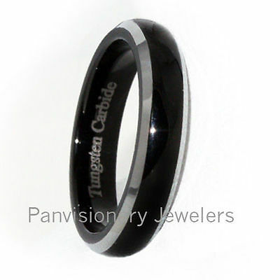 4mm Tungsten Carbide Ring Black Polish Dome Natural Bevel Edge size 5 Clearance