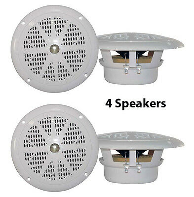 Pair New Pyle PLMR61W 120 Watts 6.5/'/' Dual Cone White Marine Speakers Kit