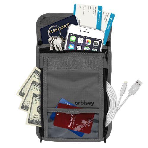 Orbisey Cou Portefeuille de Voyage Léger Sac cachette pour passeport cartes argent