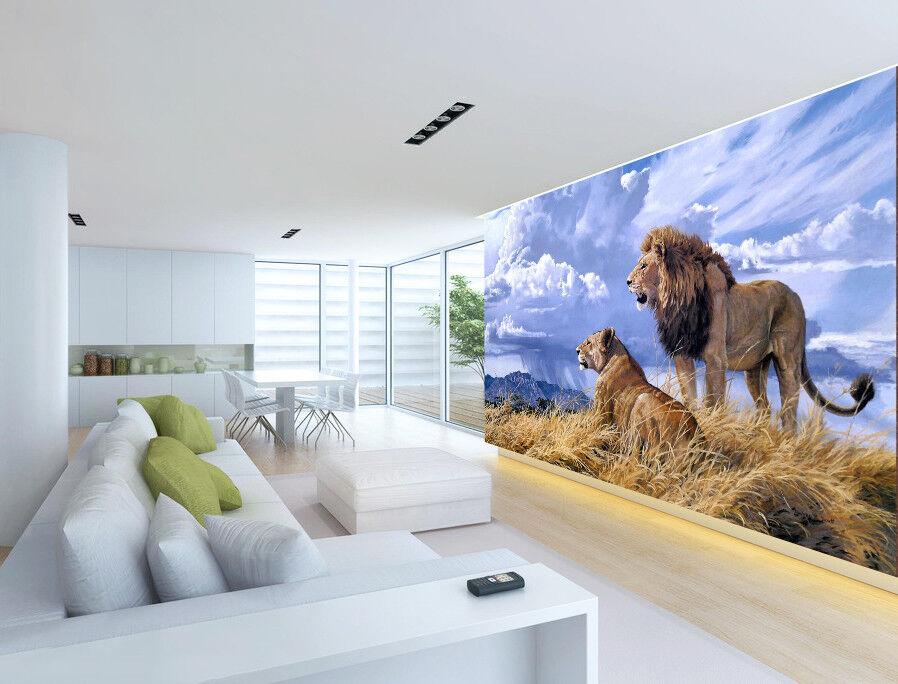 3D Wolken Löwe Rasen 588 Tapete Tapeten Mauer Foto Familie Tapete Wandgemälde DE
