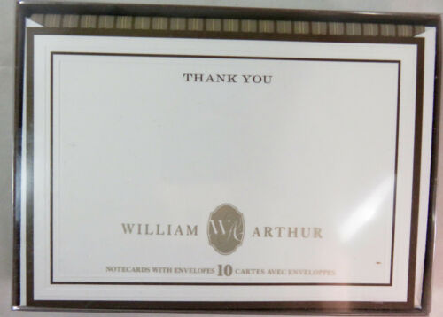 """William Arthur Thank You Notes with envelopes 10 count B59407  4.5 x 6.5"""" NIB"""