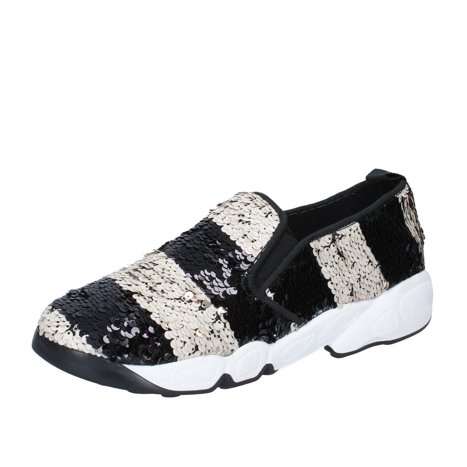 scarpe donna NILA & NILA 38 EU slip on mocassini bianco nero pailettes BX769-38