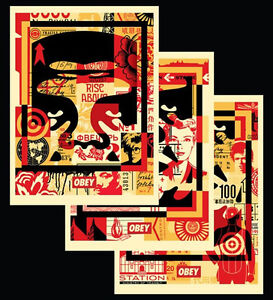SHEPARD-FAIREY-FACE-COLLAGE-TRIPTIC-OFFSET-SIGNED-OBEY-GIANT-MINT