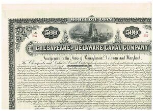 Chesapeake-and-Delaware-Canal-Co-1887-500-Loan-uncancelled