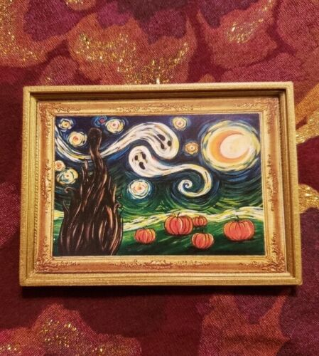 Spooky Halloween Starry Night Van Gogh Inspired Christmas Ornament//Magnet//DHM