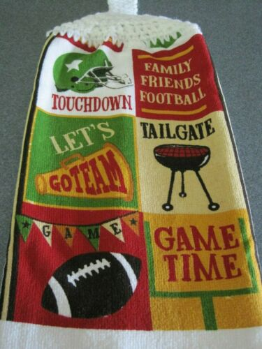Kitchen Dish Towel With A Crochet Top ~ Tailgate